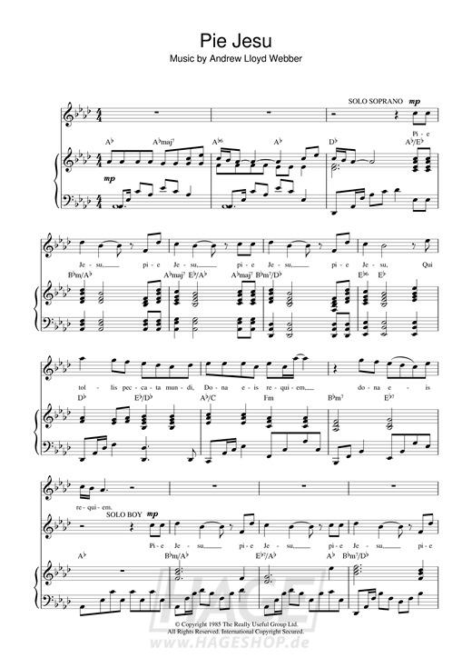 Pie Jesu (from Requiem) - Andrew Lloyd Webber - Noten Druckvorschau