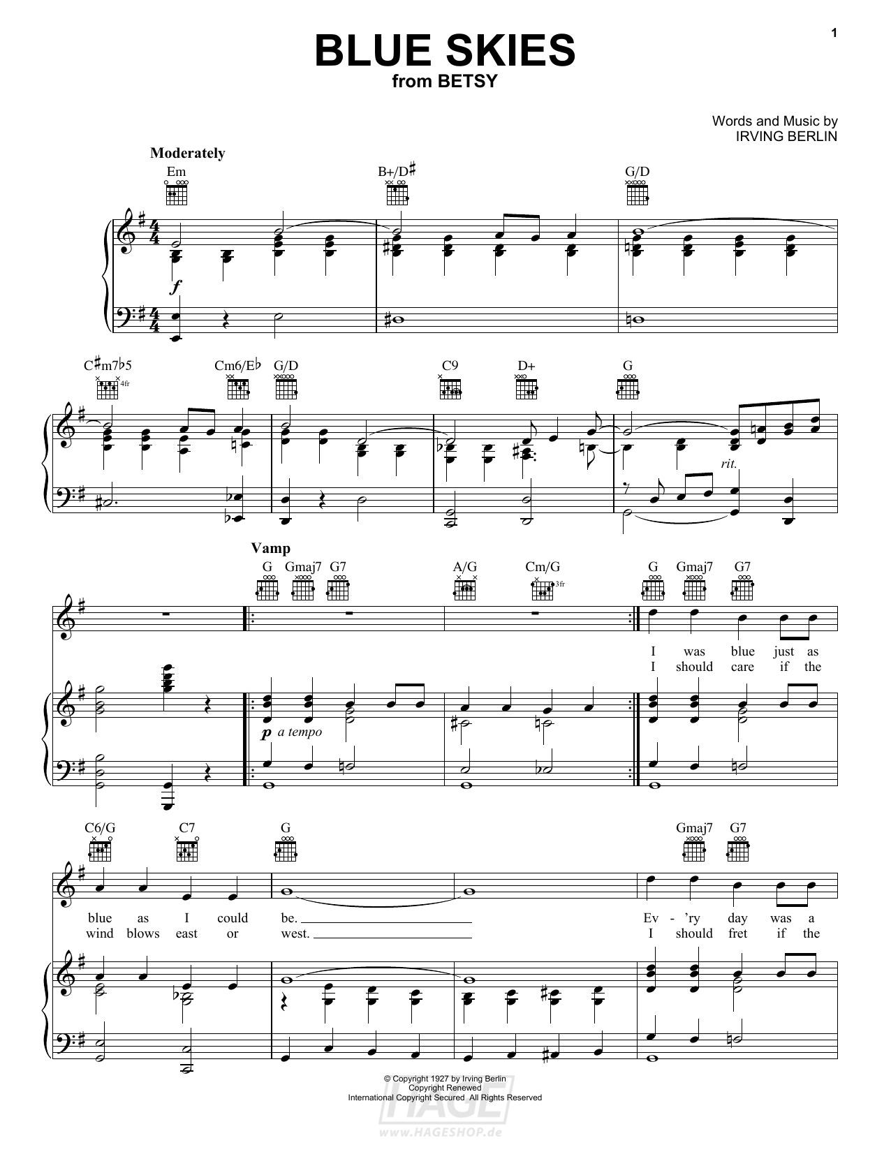 Blue Skies - Frank Sinatra - Noten Druckvorschau