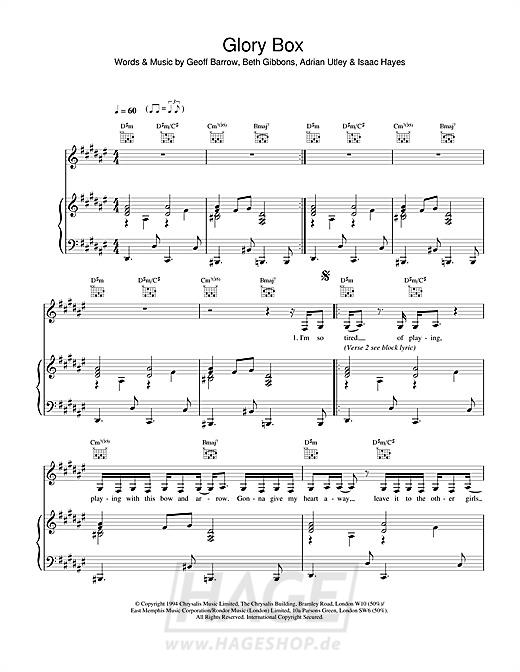 Glory Box - Portishead - Noten Druckvorschau