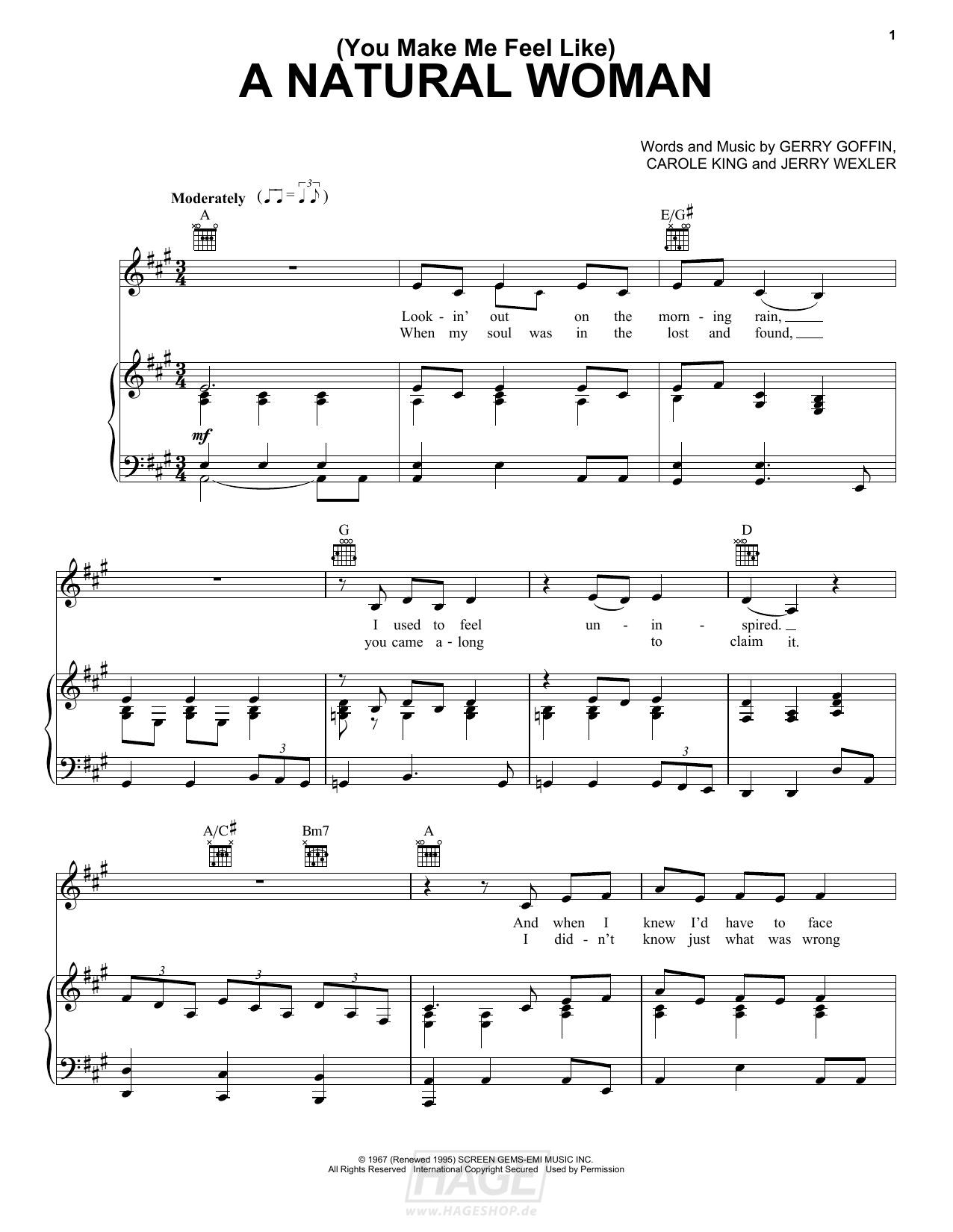 (You Make Me Feel Like) A Natural Woman - Aretha Franklin - Noten Druckvorschau