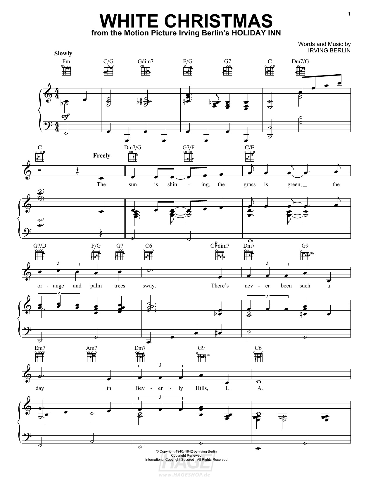 White Christmas - Irving Berlin - Noten Druckvorschau