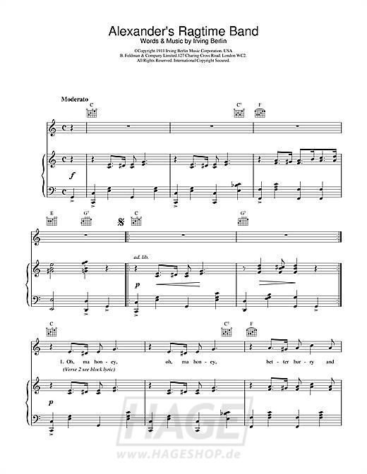 Alexander's Ragtime Band - Bessie Smith - Noten Druckvorschau
