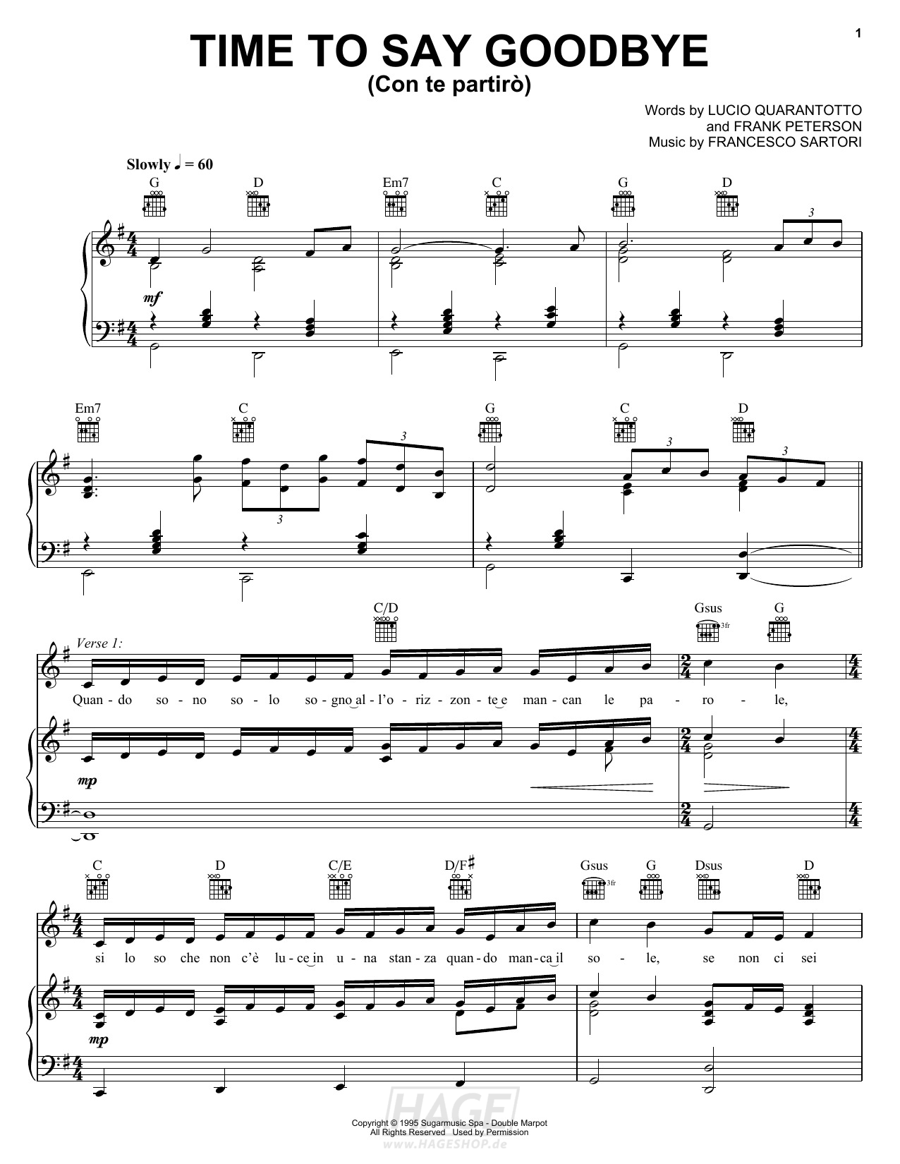 Time To Say Goodbye (Con Te Partirò) - Andrea Bocelli & Sarah Brightman - Noten Druckvorschau