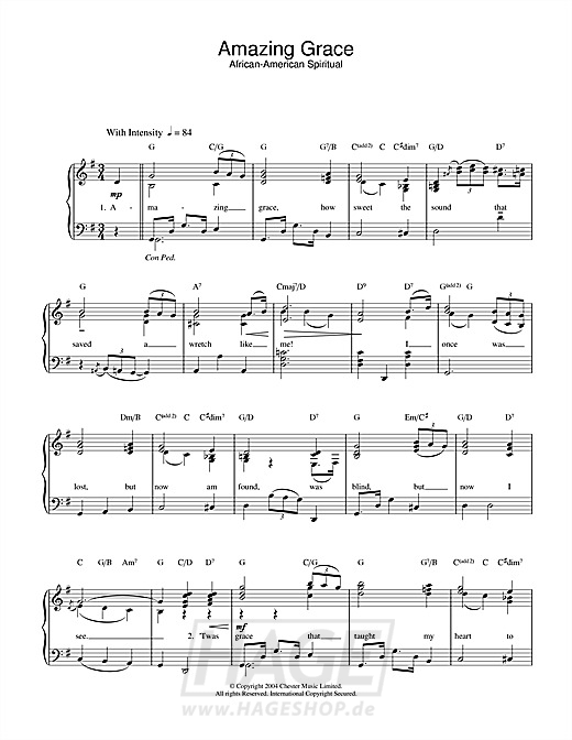 Amazing Grace - Traditional - Noten Druckvorschau