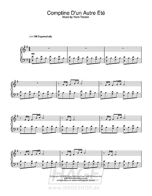 Comptine D'un Autre Été (from Amélie) - Yann Tiersen - Noten Druckvorschau
