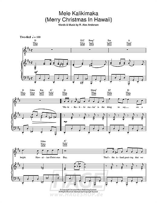 Mele Kalikimaka (Merry Christmas In Hawaii) - Bing Crosby - Noten Druckvorschau
