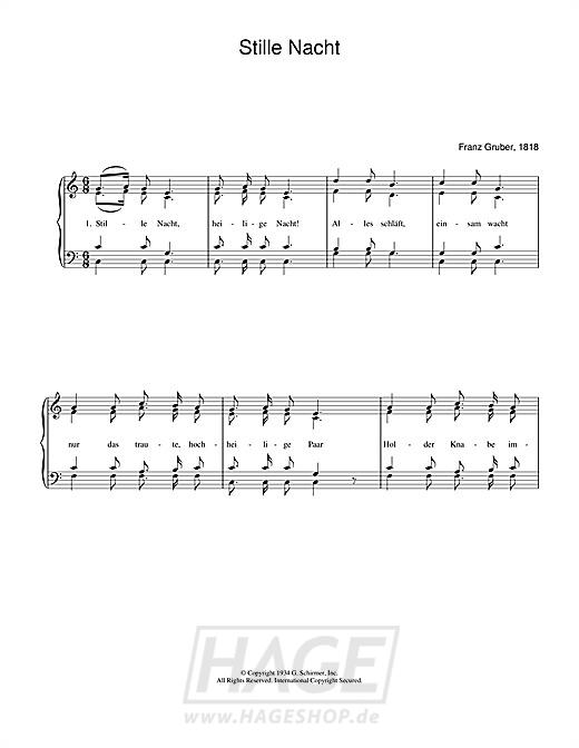 Stille Nacht - Weihnachtslied - Noten Druckvorschau