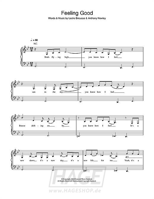 Feeling Good - Nina Simone - Noten Druckvorschau
