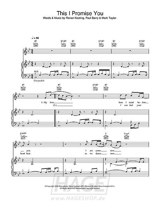 This I Promise You - Ronan Keating - Noten Druckvorschau