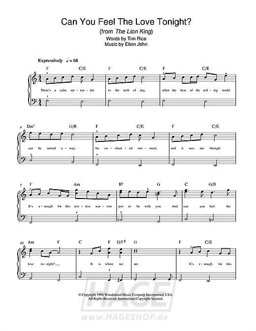 Can You Feel The Love Tonight (from The Lion King) - Elton John - Noten Druckvorschau
