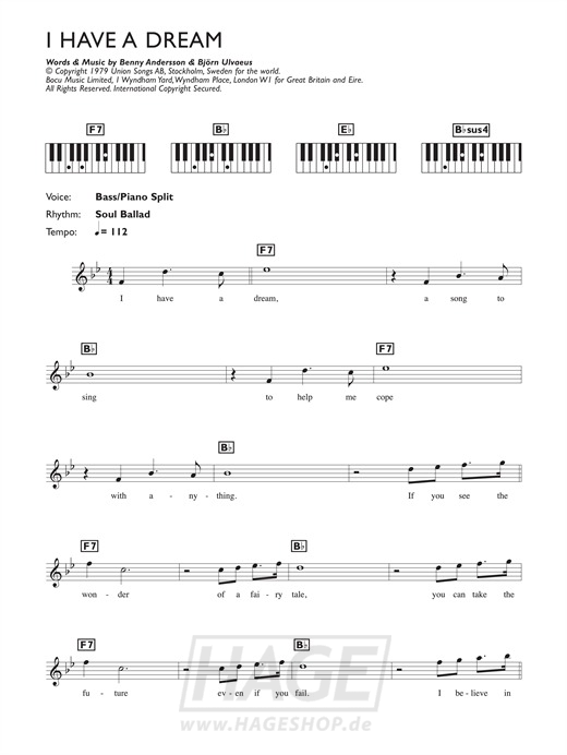 I Have A Dream - ABBA - Noten Druckvorschau