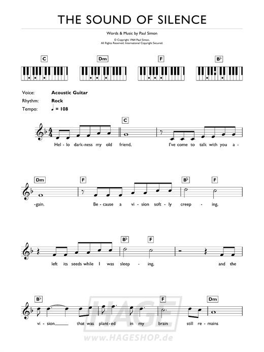 The Sound Of Silence - Simon & Garfunkel - Noten Druckvorschau