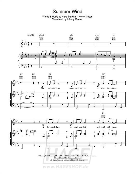 Summer Wind - Frank Sinatra - Noten Druckvorschau