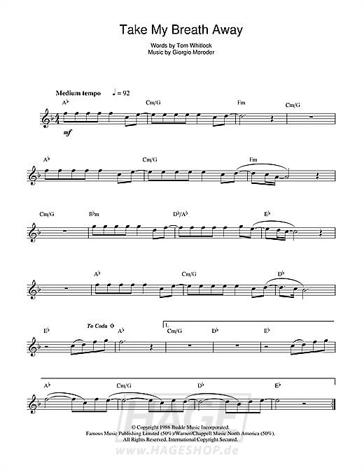 Take My Breath Away - Berlin - Noten Druckvorschau