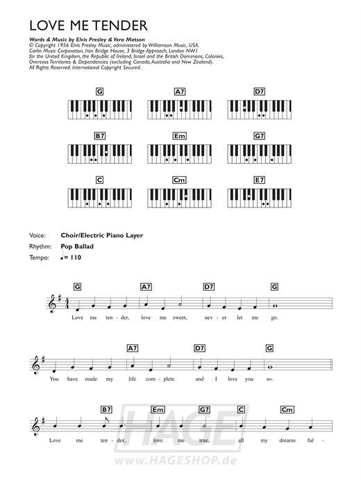 Love Me Tender - Elvis Presley - Noten Druckvorschau
