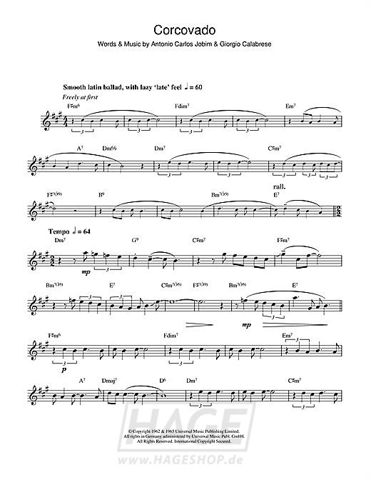 Corcovado (Quiet Nights Of Quiet Stars) - Antonio Carlos Jobim - Noten Druckvorschau