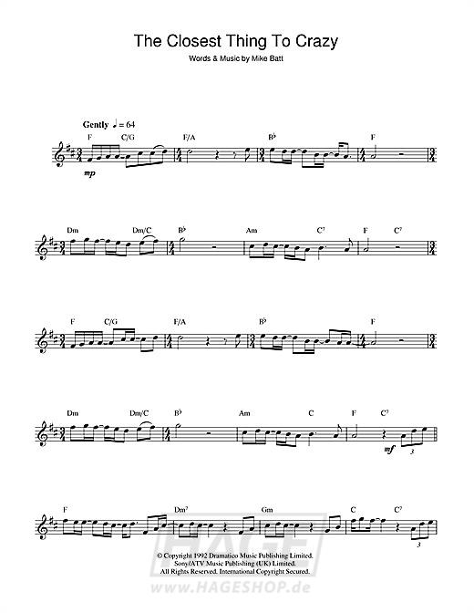 The Closest Thing To Crazy - Katie Melua - Noten Druckvorschau