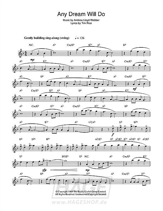 Any Dream Will Do (from Joseph And The Amazing Technicolor Dreamcoat) - Andrew Lloyd Webber - Noten Druckvorschau