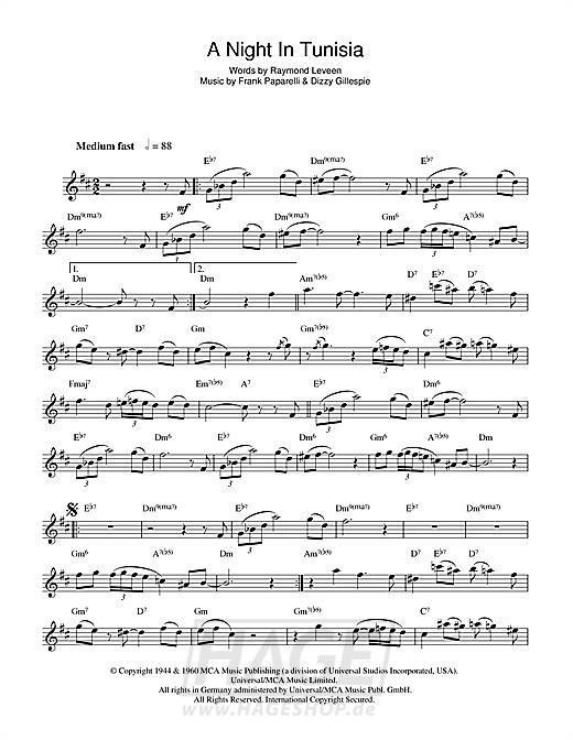 A Night In Tunisia - Dizzy Gillespie - Noten Druckvorschau