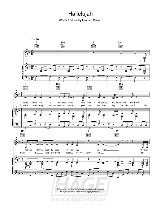 Hallelujah - Alexandra Burke - Noten Druckvorschau