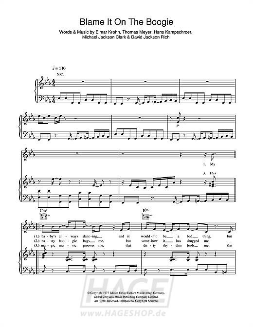 Blame It On The Boogie - The Jackson 5 - Noten Druckvorschau