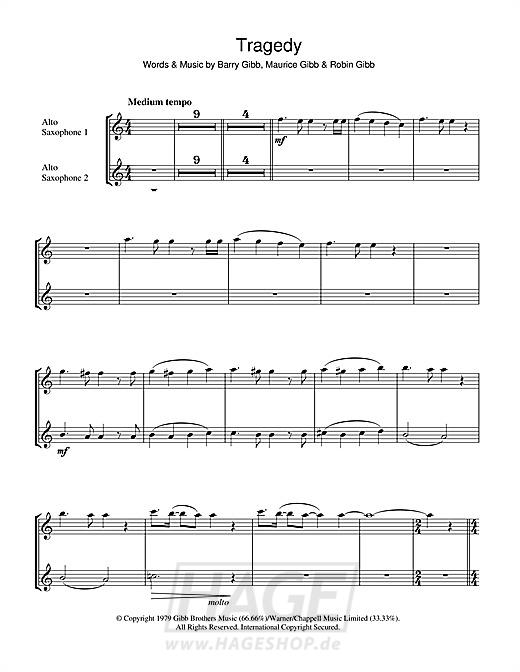 Tragedy - Bee Gees - Noten Druckvorschau