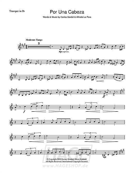 Por Una Cabeza - Carlos Gardel - Noten Druckvorschau