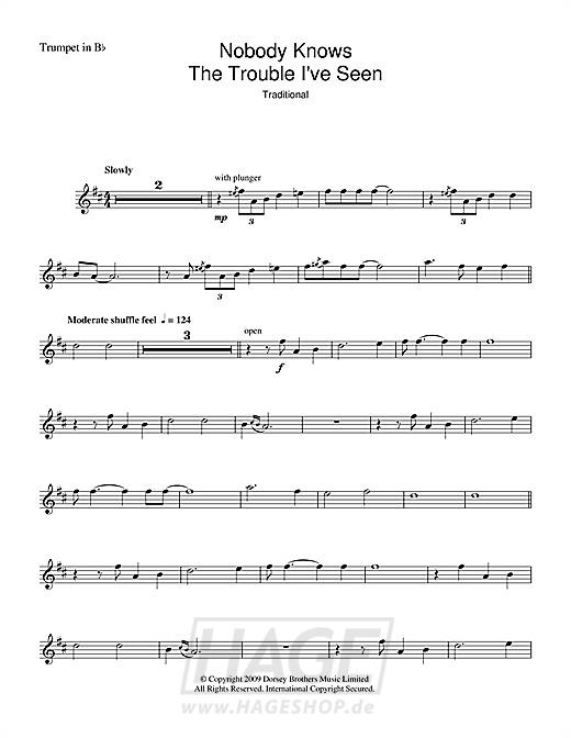 Nobody Knows The Trouble I've Seen - Louis Armstrong - Noten Druckvorschau