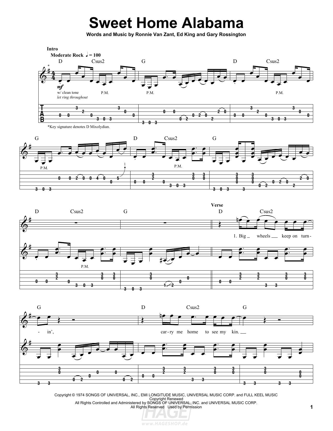 Sweet Home Alabama - Lynyrd Skynyrd - Noten Druckvorschau