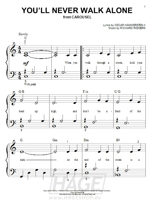 You'll Never Walk Alone - Rodgers & Hammerstein - Noten Druckvorschau