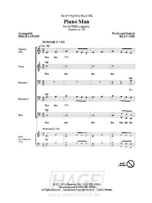 Piano Man - Philip Lawson - Noten Druckvorschau