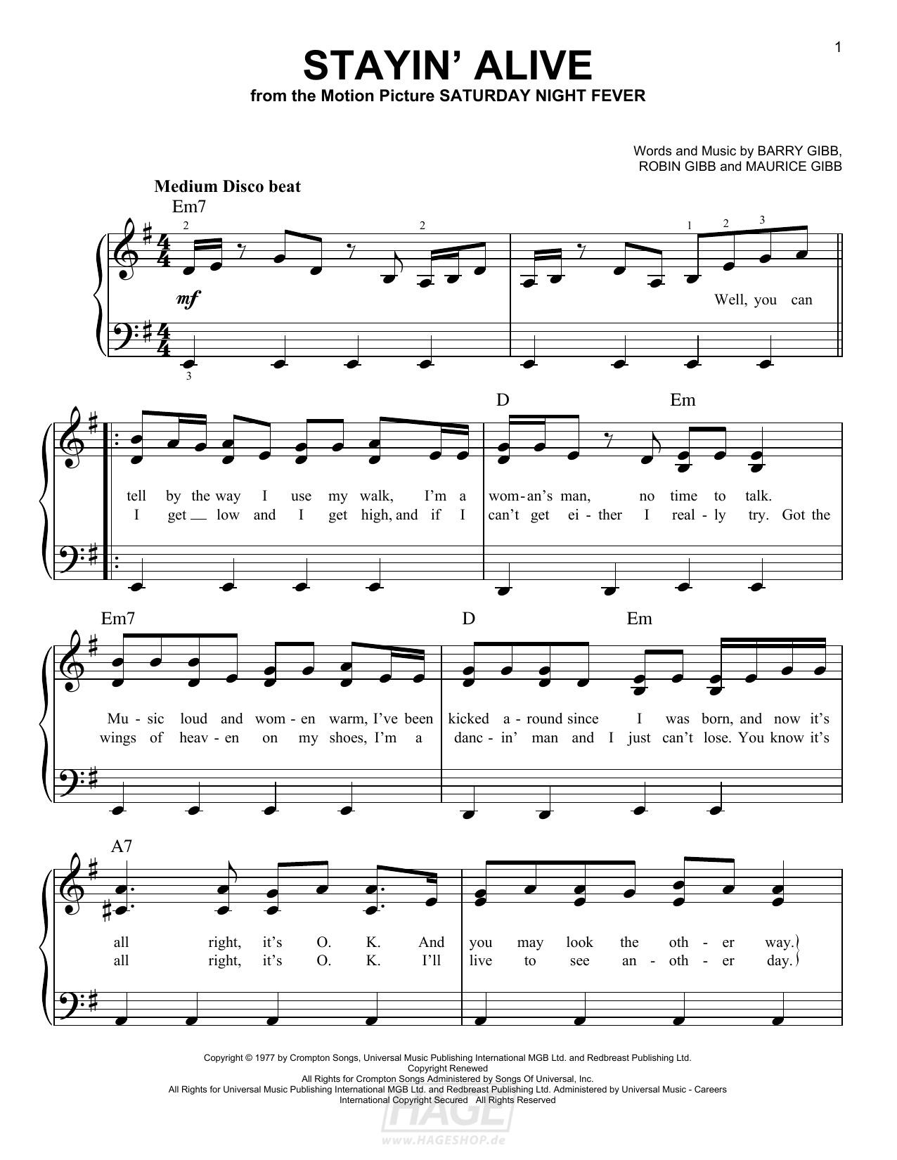 Stayin' Alive - Bee Gees - Noten Druckvorschau