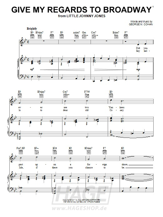 Give My Regards To Broadway - George M. Cohan - Noten Druckvorschau