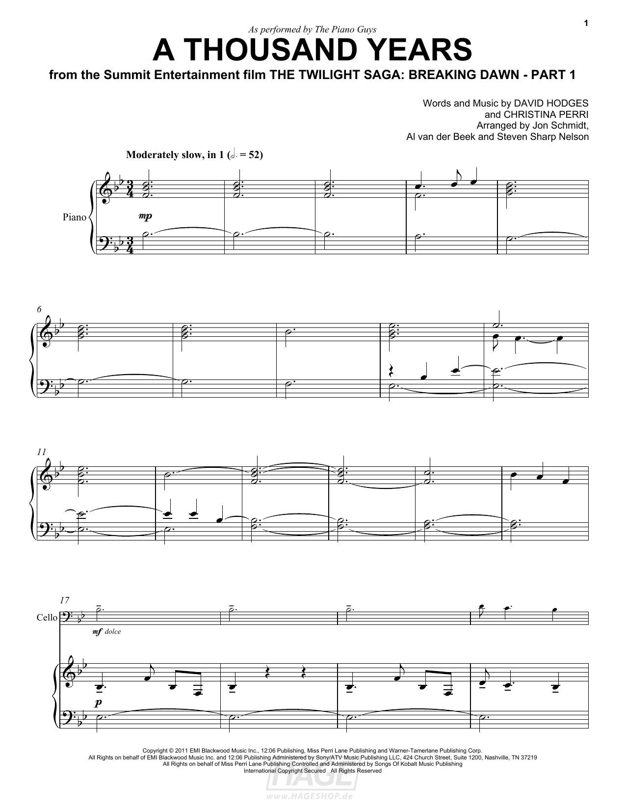 A Thousand Years - The Piano Guys - Noten Druckvorschau