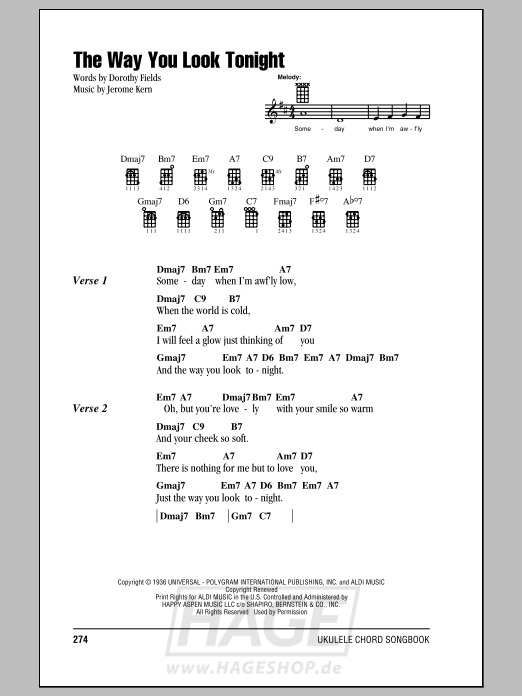 The Way You Look Tonight - Frank Sinatra - Noten Druckvorschau