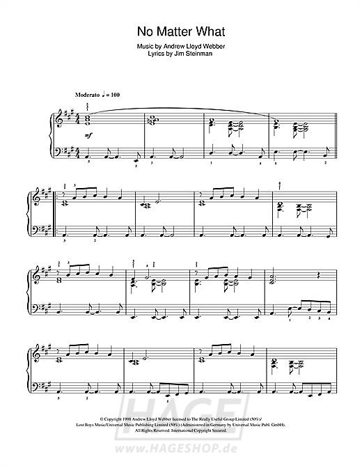 No Matter What (from Whistle Down The Wind) - Boyzone - Noten Druckvorschau