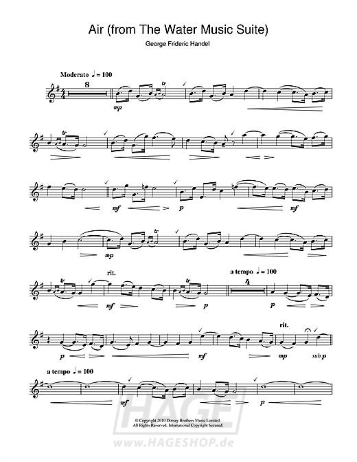 Air (from The Water Music Suite) - George Frideric Handel - Noten Druckvorschau