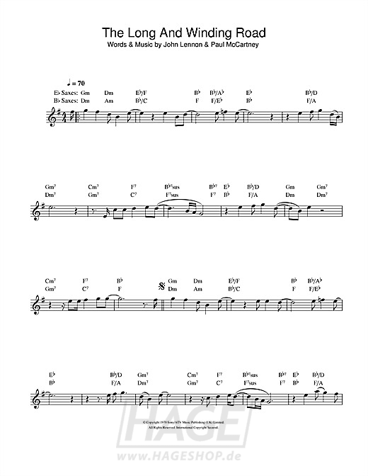 The Long And Winding Road - The Beatles - Noten Druckvorschau