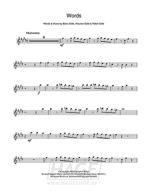 Words - Bee Gees - Noten Druckvorschau