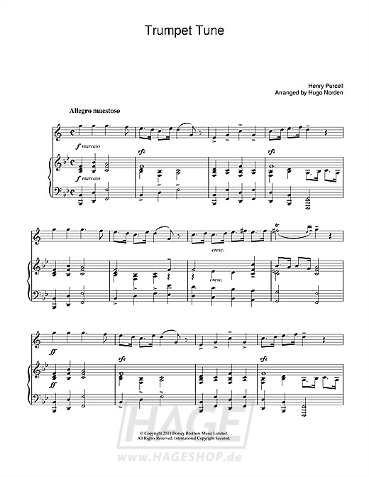 Trumpet Tune - Henry Purcell - Noten Druckvorschau