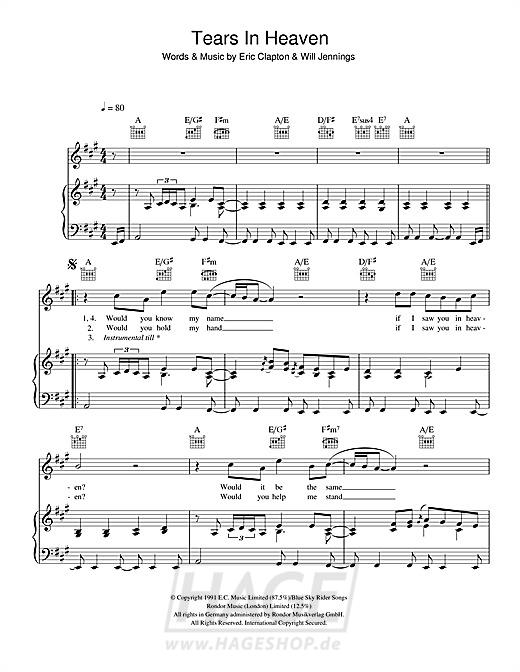 Tears In Heaven - Eric Clapton - Noten Druckvorschau