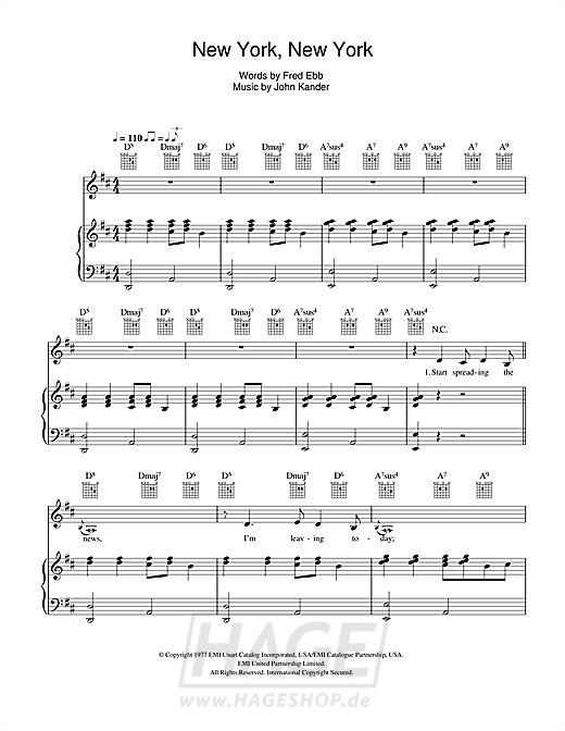 New York, New York - Frank Sinatra - Noten Druckvorschau