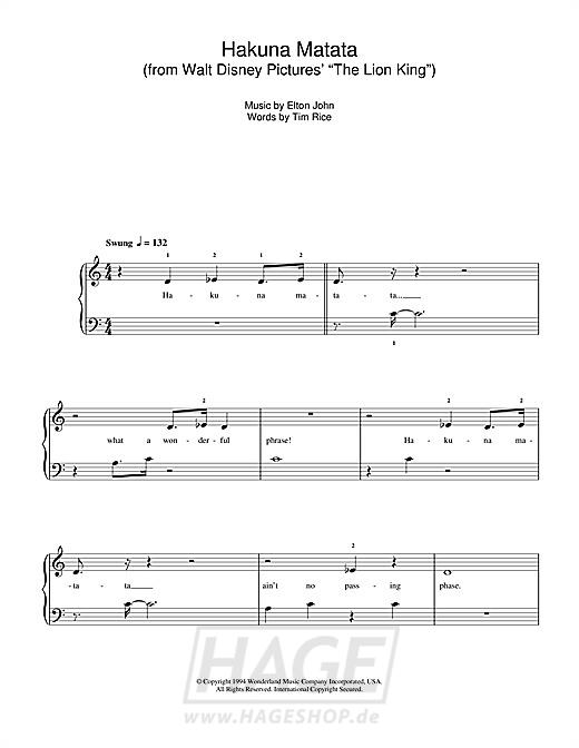 Hakuna Matata (from The Lion King) - Elton John - Noten Druckvorschau