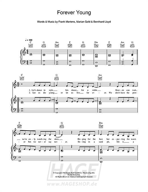 Forever Young von Alphaville - Noten Download - WL114781