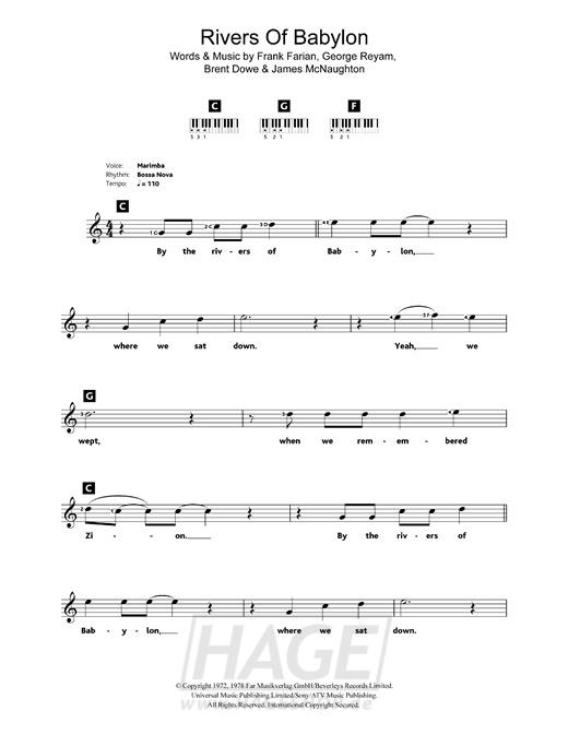 Rivers Of Babylon - Boney M - Noten Druckvorschau