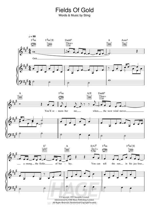 Fields Of Gold - Eva Cassidy - Noten Druckvorschau