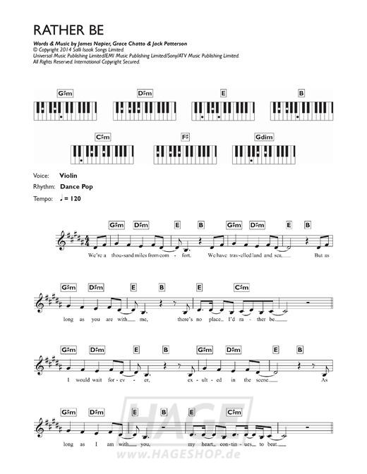 Rather Be (feat. Jess Glynne) - Clean Bandit - Noten Druckvorschau