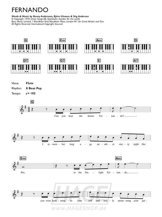 Fernando - ABBA - Noten Druckvorschau