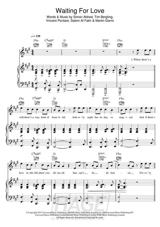 Waiting For Love - Avicii - Noten Druckvorschau