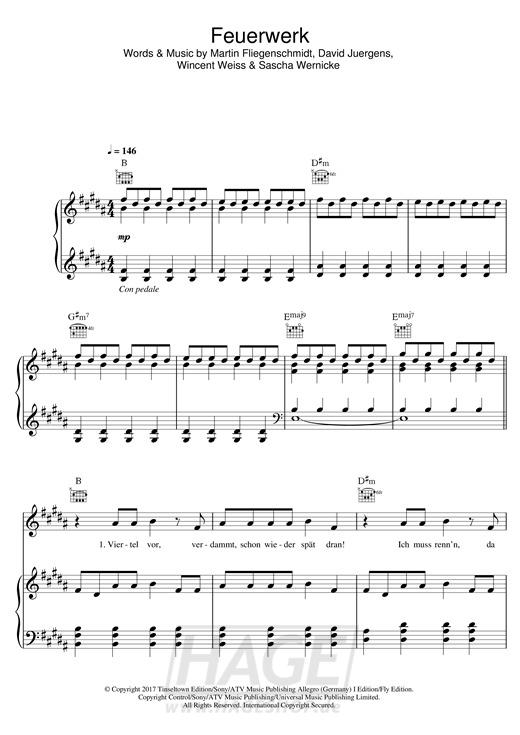 Feuerwerk - Wincent Weiss - Noten Druckvorschau